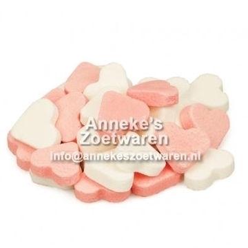 Mini Frucht Herzchen, rosa und weiß  per 100 gram