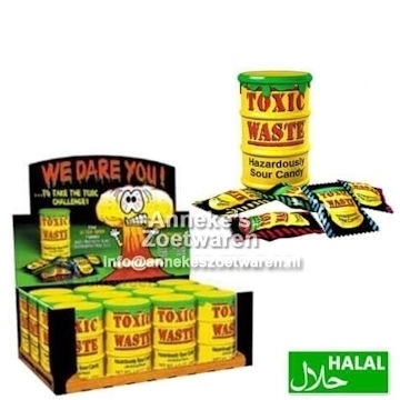 Toxic Waste Yellow Sour Candy Drum 42 gr.  per stuk