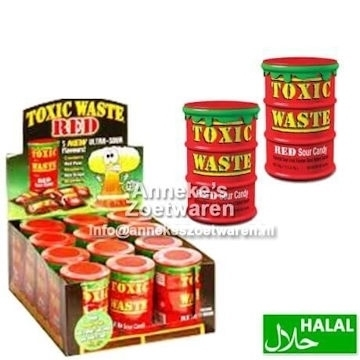 Toxic Waste Red Sour Candy Drum 42 gr.  per stuk