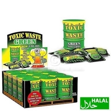 Toxic Waste Green Sour Candy Drum 42 gr.  per stuk