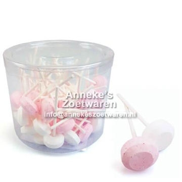 Dextrose Lollys Roze-Wit 10 gr.