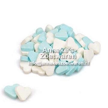 Geboorte hartjes Blauw Wit, pepermunt  per 100 gram