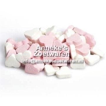 Geboorte hartjes Roze Wit, pepermunt  per 100 gram