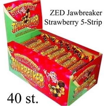 Jawbreaker 5-strip, Aardbeien (rood)  per strip