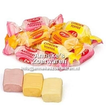 Toffees met fruitsmaak  per 200 gram