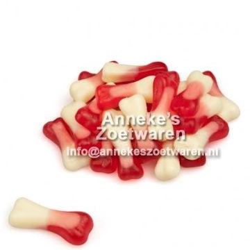 Joepie, Bones, Botjes, rood-wit  per 100 gram