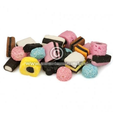 Orig. Englische Lakritz- und Zuckerkonfekt  per 100 gram