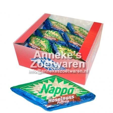 Nougatblok, Nappo met gepofte rijst en hazelnoot, 40 gram  per stuk